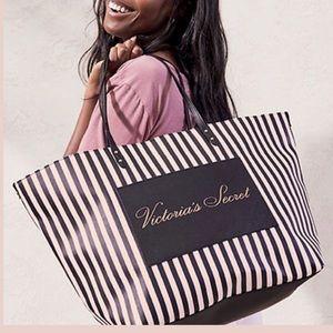 NWT Victoria's Secret bag. Pink & black stripes